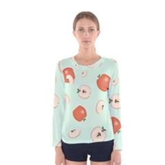 Apple Fruit Background Food Women s Long Sleeve Tee
