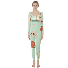 Apple Fruit Background Food Long Sleeve Catsuit