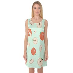 Apple Fruit Background Food Sleeveless Satin Nightdress