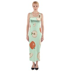 Apple Fruit Background Food Fitted Maxi Dress