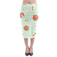 Apple Fruit Background Food Midi Pencil Skirt