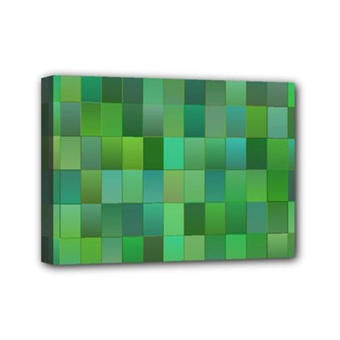 Green Blocks Pattern Backdrop Mini Canvas 7  x 5