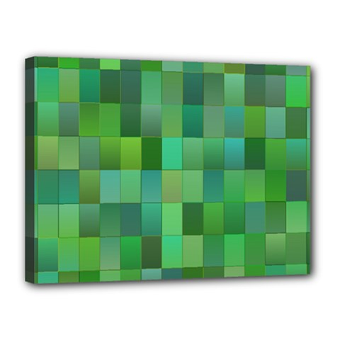 Green Blocks Pattern Backdrop Canvas 16  x 12