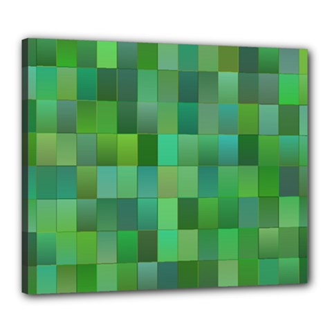 Green Blocks Pattern Backdrop Canvas 24  X 20