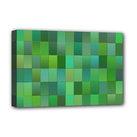 Green Blocks Pattern Backdrop Deluxe Canvas 18  x 12