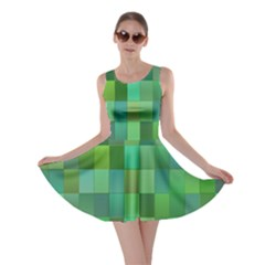 Green Blocks Pattern Backdrop Skater Dress