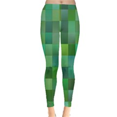 Green Blocks Pattern Backdrop Leggings