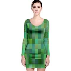 Green Blocks Pattern Backdrop Long Sleeve Bodycon Dress