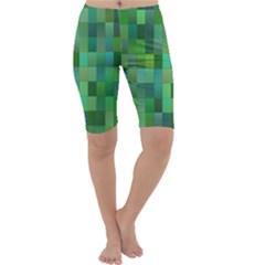 Green Blocks Pattern Backdrop Cropped Leggings