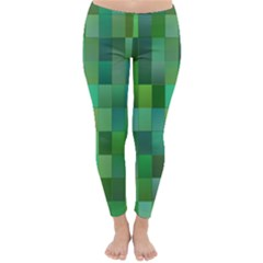 Green Blocks Pattern Backdrop Classic Winter Leggings