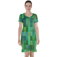 Green Blocks Pattern Backdrop Short Sleeve Nightdress
