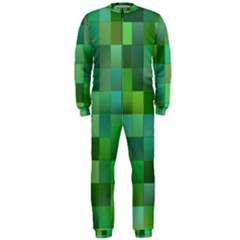 Green Blocks Pattern Backdrop OnePiece Jumpsuit (Men)