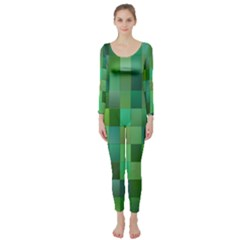 Green Blocks Pattern Backdrop Long Sleeve Catsuit