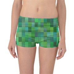 Green Blocks Pattern Backdrop Boyleg Bikini Bottoms