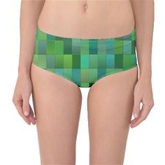 Green Blocks Pattern Backdrop Mid-Waist Bikini Bottoms