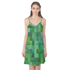 Green Blocks Pattern Backdrop Camis Nightgown