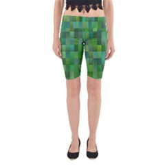 Green Blocks Pattern Backdrop Yoga Cropped Leggings
