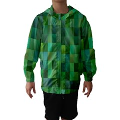 Green Blocks Pattern Backdrop Hooded Wind Breaker (Kids)