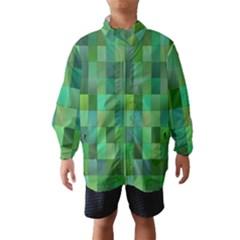 Green Blocks Pattern Backdrop Wind Breaker (kids)