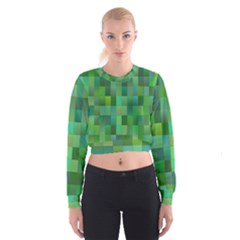 Green Blocks Pattern Backdrop Cropped Sweatshirt