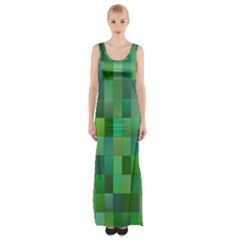 Green Blocks Pattern Backdrop Maxi Thigh Split Dress