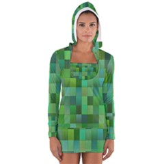 Green Blocks Pattern Backdrop Women s Long Sleeve Hooded T-shirt