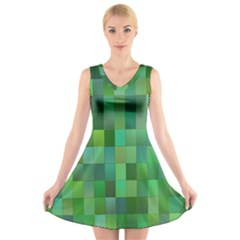 Green Blocks Pattern Backdrop V Neck Sleeveless Skater Dress