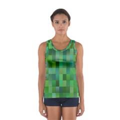 Green Blocks Pattern Backdrop Women s Sport Tank Top