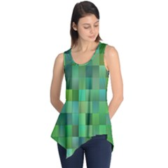 Green Blocks Pattern Backdrop Sleeveless Tunic