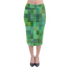 Green Blocks Pattern Backdrop Midi Pencil Skirt