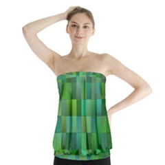 Green Blocks Pattern Backdrop Strapless Top