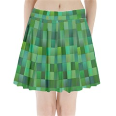 Green Blocks Pattern Backdrop Pleated Mini Skirt