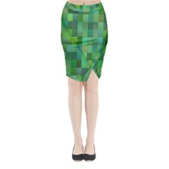 Green Blocks Pattern Backdrop Midi Wrap Pencil Skirt