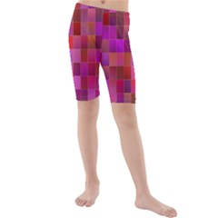 Shapes Abstract Pink Kids  Mid Length Swim Shorts