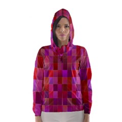 Shapes Abstract Pink Hooded Wind Breaker (women)