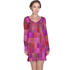Shapes Abstract Pink Long Sleeve Nightdress