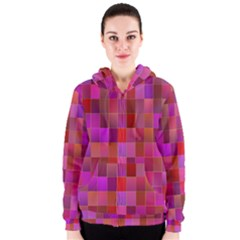 Shapes Abstract Pink Women s Zipper Hoodie