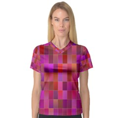 Shapes Abstract Pink Women s V-Neck Sport Mesh Tee