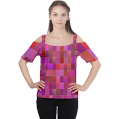 Shapes Abstract Pink Women s Cutout Shoulder Tee