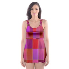 Shapes Abstract Pink Skater Dress Swimsuit