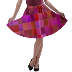 Shapes Abstract Pink A Line Skater Skirt