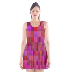 Shapes Abstract Pink Scoop Neck Skater Dress