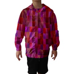 Shapes Abstract Pink Hooded Wind Breaker (Kids)