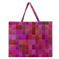 Shapes Abstract Pink Zipper Large Tote Bag