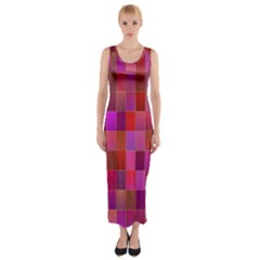 Shapes Abstract Pink Fitted Maxi Dress
