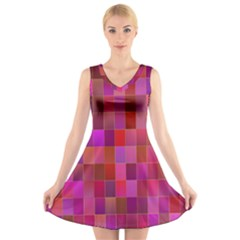 Shapes Abstract Pink V Neck Sleeveless Skater Dress