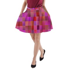 Shapes Abstract Pink A-Line Pocket Skirt