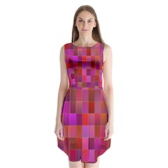 Shapes Abstract Pink Sleeveless Chiffon Dress