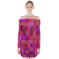 Shapes Abstract Pink Long Sleeve Off Shoulder Dress