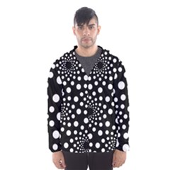 Dot Dots Round Black And White Hooded Wind Breaker (men)